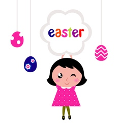 girl holding easter banner vector image vector image