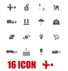 grey logistic icon set vector image vector image