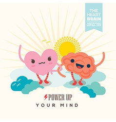 heart and brain cartoon character holding hands vector image vector image