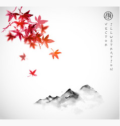 Red japanese maple leaves and far mountains in fog vector