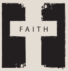 sign of the scratched cross with the word faith vector image