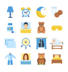 sleep time set of icons in a flat style vector image vector image