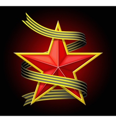 The red star with a ribbon vector image