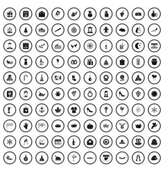 100 festive day icons set simple style vector