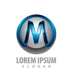 3d initial m letter logo concept design symbol vector image