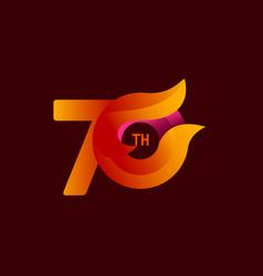 70 th anniversary celebrations orange template vector