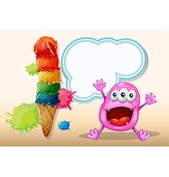 A cheerful beanie monster near the icecream vector image