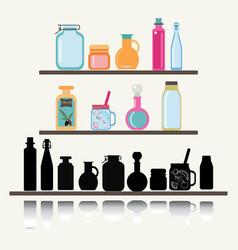 A set cute icon collection glassware jars vector