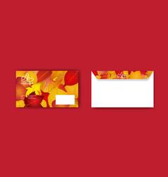 Autumn envelope design template vector