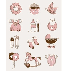 Baby icons - girl vector