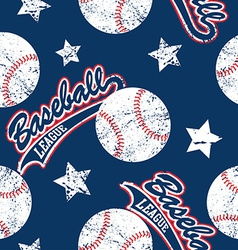 Baseballs and stars seamless pattern vector image