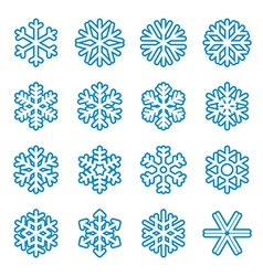 Blue snowflake icons vector image