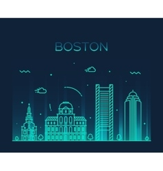 Boston skyline trendy linear vector image
