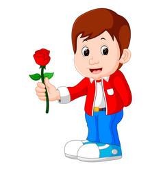 Boy with a rose flower cartoon vector