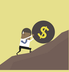 businessman pushing a huge burden ball up hill vector image