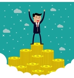 businessman standing on the huge money staircase vector image