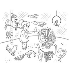 childrens cartoon coloring the contact birds zoo vector image