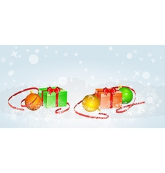 Christmas card with balls and ribbons vector