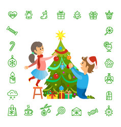 christmas holidays preparation tree decoration vector image