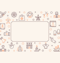 christmas outline frame new year vector image