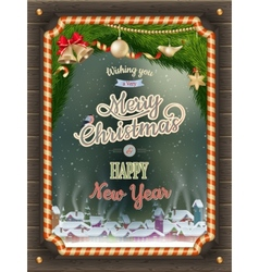 Christmas Poster with village EPS 10 vector image
