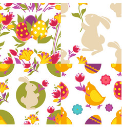 collection of spring easter seamless patterns with vector image