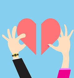 Concept heart men and women view giving love vector