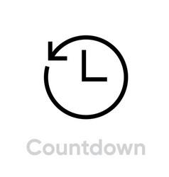 countdown icon editable line vector image