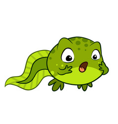 Cute cartoon baby tadpole looking surprised omg vector