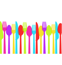 cutlery background colours spoon fork knife vector image