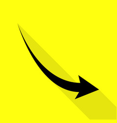 declining arrow sign black icon with flat style vector image