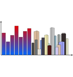 Diagram with skyscrapers vector