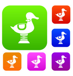 Duck spring see saw set collection vector