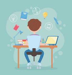 Education online student boy sitting back view in vector