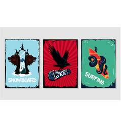 extreme sports posters collection snowboard vector image