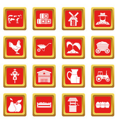 Farm icons set red vector