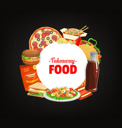 fast food round banner cartoon meals frame vector image