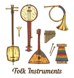 Folk Musical Instruments vector image