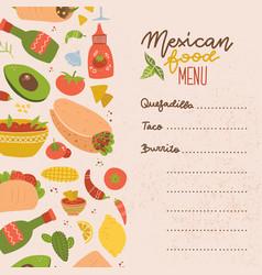 food truck mexican food menu set colorful hand vector image