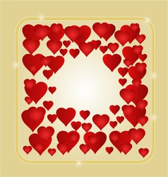 Frame with red hearts greeting card festive vector