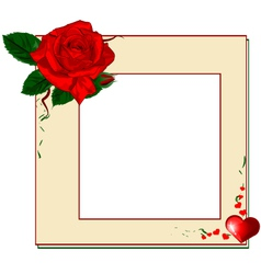 Frame with red rose and heart EPS10 vector image