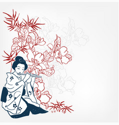 Fue flute japanese sketch engraved chinese vector