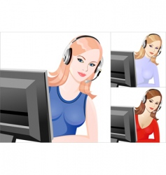girl telephone operator vector image