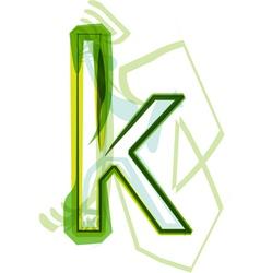 Green letter K vector image