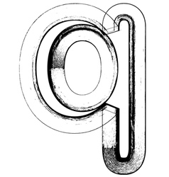 Grunge Font letter q vector image