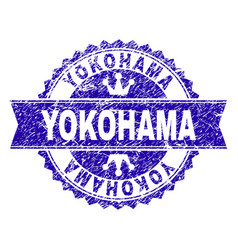 Grunge textured yokohama stamp seal with ribbon vector