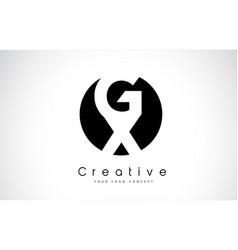 gx letter logo design inside a black circle vector image