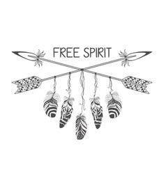 Hand drawn boho style design with arrow and vector