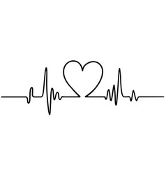 Hand drawn heart with heartbeat isolated on white vector