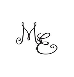 Handwritten monogram me icon vector